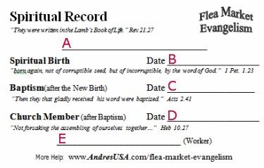 Birth Certificate Form - Spiritual Record